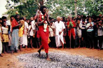 daytime fire walking at Kataragama